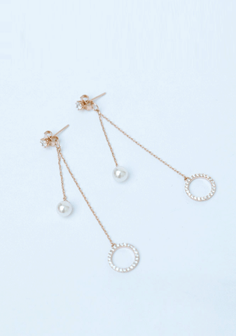 Long Drop Circle Pearl Earring