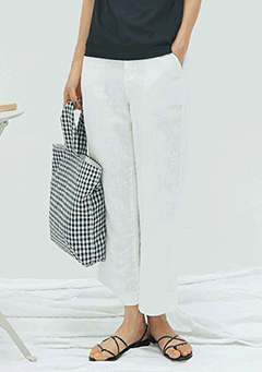 Button Linen Straight and Wide Pants