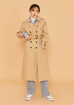 Buckle Pocket Trench Coat
