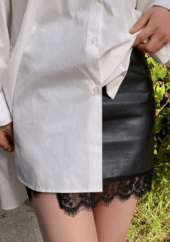 Charlotte Lace Hem Leather Skirt