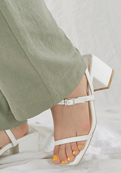 Diagonal Strap Summer Middle Heel
