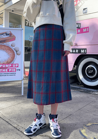 Cherry Pie Wool Check Long Skirt