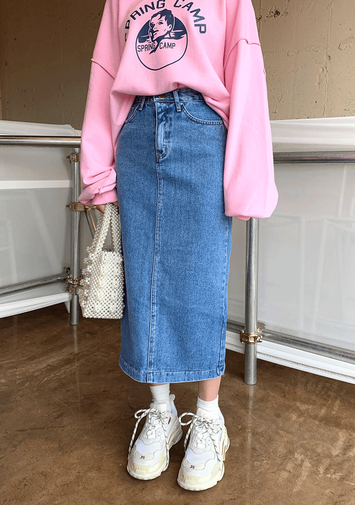Basic H-Line Long Denim Skirt