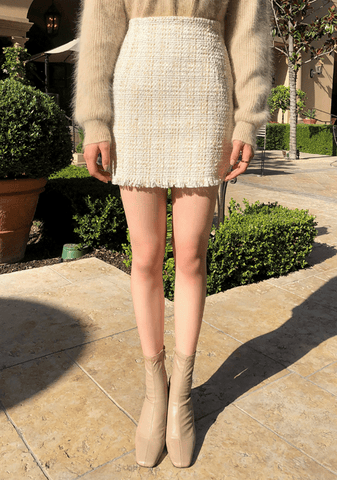 Pearl Tweed Mini Skirt