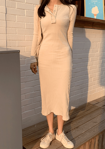 More Please Slimfit Ribbed Dress