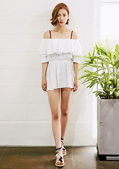 Beach Ruffled Down Off-The-Shoulder Blouse