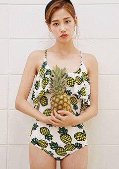 Frilled Down Pineapple Swimsuit