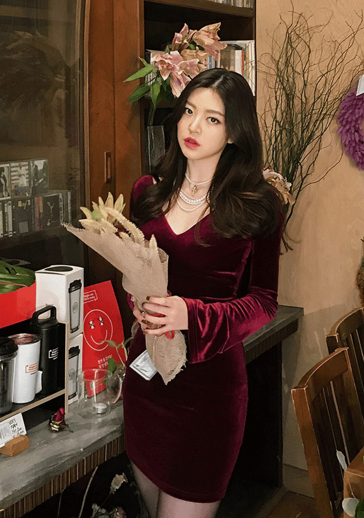 Deep V-Neck Velvet Bodycon Dress