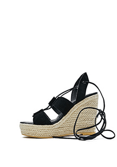 Lace Up Strap Wedge Sandals