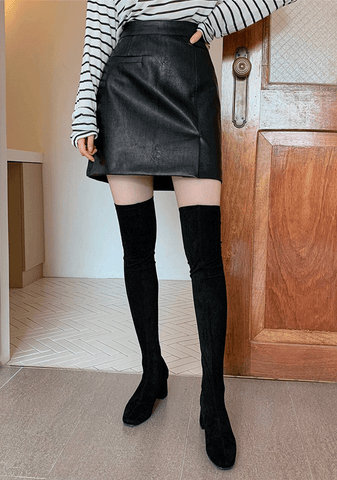 Right On Time Leather Look Skirt
