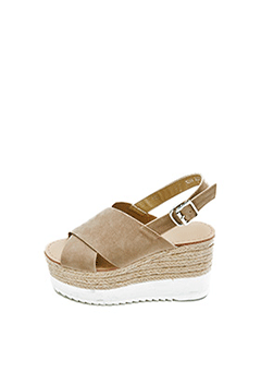Wide Cross Strap Wedge Sandals