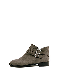 Suede Simple Double Belt Ankel Boots
