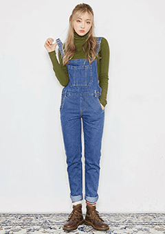 Casual Blue Denim Overalls