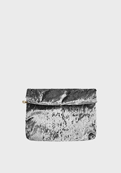 Coated Velvet Clutch