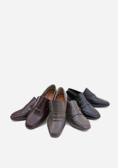 Chunky Low Heel Simple Loafers