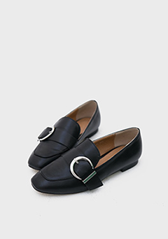 Simple Belt Faux Leather Loafers