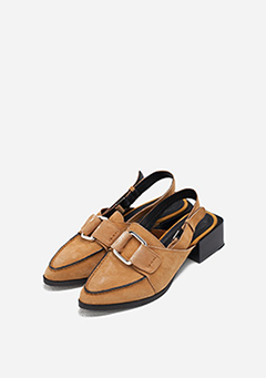 Suede Buckle Strap Heeled Loafers