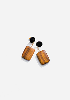 Wood Round Square Earrings
