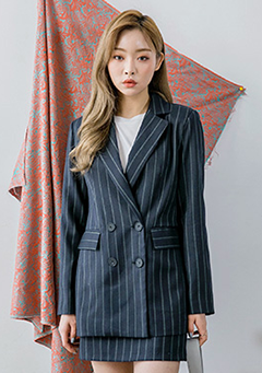 Stripy Two-Button Jacket