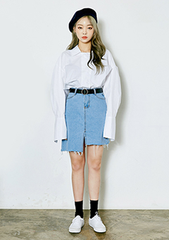 Unbalanced Cut Denim Skirt