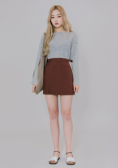 Linen Belt Mini Skirt