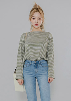 Narrow Stripe Semi-Sheer Top