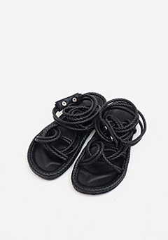 Leather String Buttoned Sandals