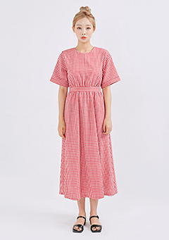 Back Ribbon Long Check Dress