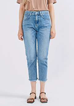 Crop Raw Hem Straight Jeans