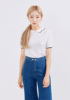 Clam Collar Knit T-Shirt