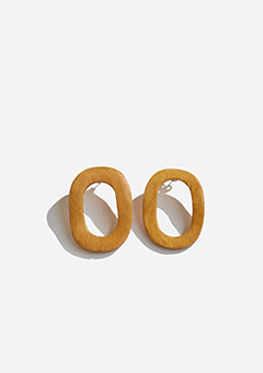 Wide Oval Wooden Earrings