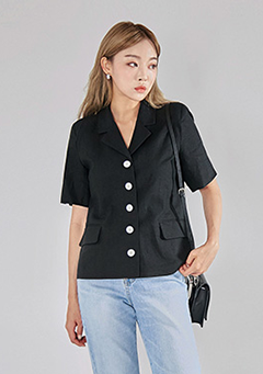 Short Sleeved Daily Button Jacket