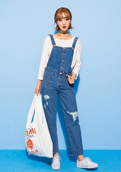 Button Closing Overall Jeans