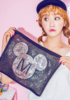 Spangle Mickey Mouse Transparent Clutch