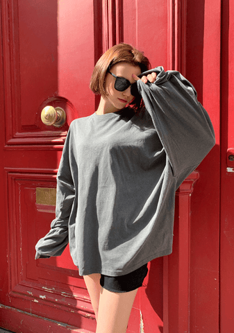 Pigmented Boxy Long-Sleeve Top