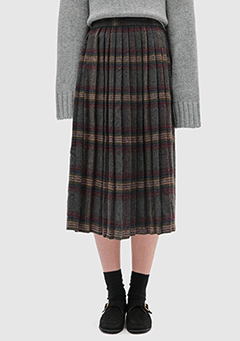 Vintage Check Pleats Skirt