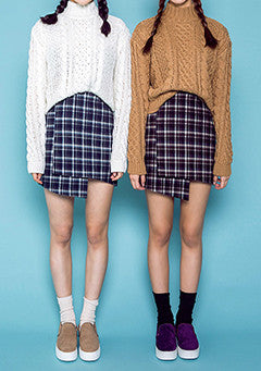 Wrap Style Check Skirt