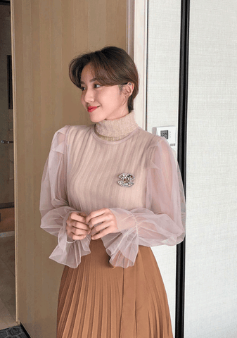 Knit + Sheer Blouse Set