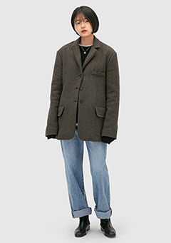 Wool Herringbone Half Coat