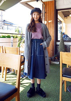 Whistles Denim Midi Skirt With Patch Pocket