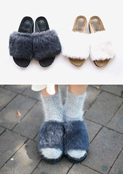 100% Angora Fur Platform Sliders