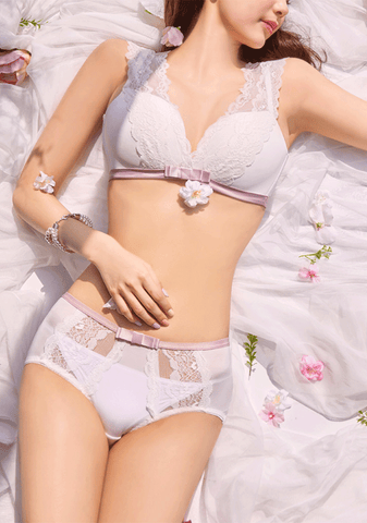Rose Lace Ribbon Bra Pantie Set