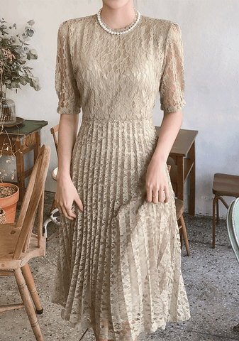 Lace Puff Sleeve Midi Dress