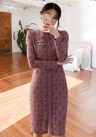 Silk Line Lace Midi Dress