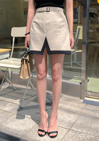 Stylish Mood Bicolor Linen Skirt