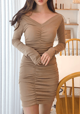 Simple Shirred Bodycon Dress