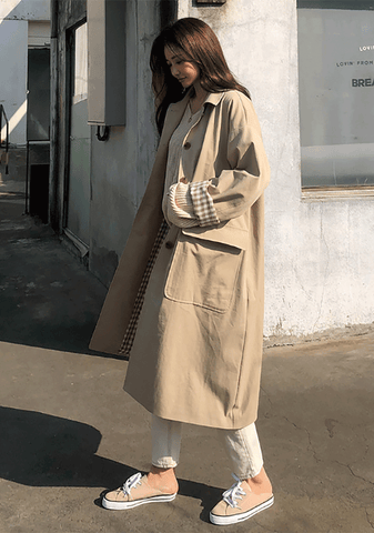 Classic Check Pointed Trench Coat