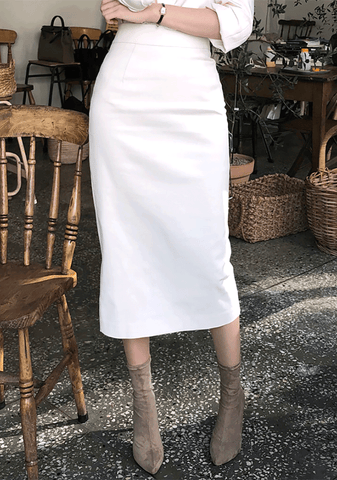 Cotton H-Line Midi Skirt