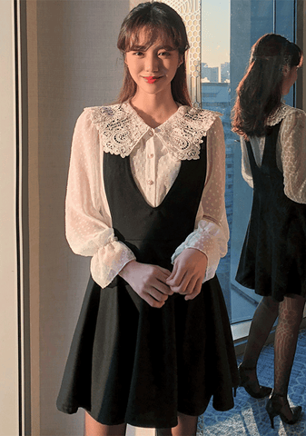 Lace Blouse Layered Dress