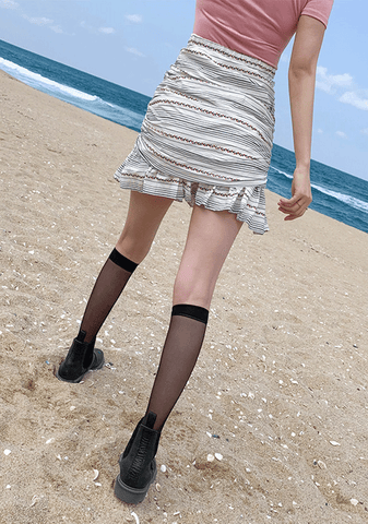 Horizontal Lines Shirring Skirt